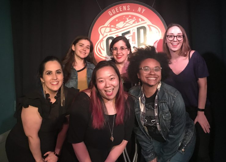Photo of a group of women comedians smiling