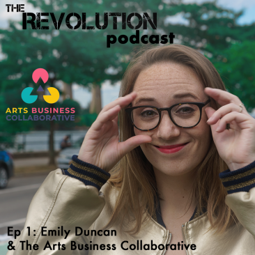 Title card for the episode with a picture of Emily Duncan and the logo for Arts Business Collaborative.